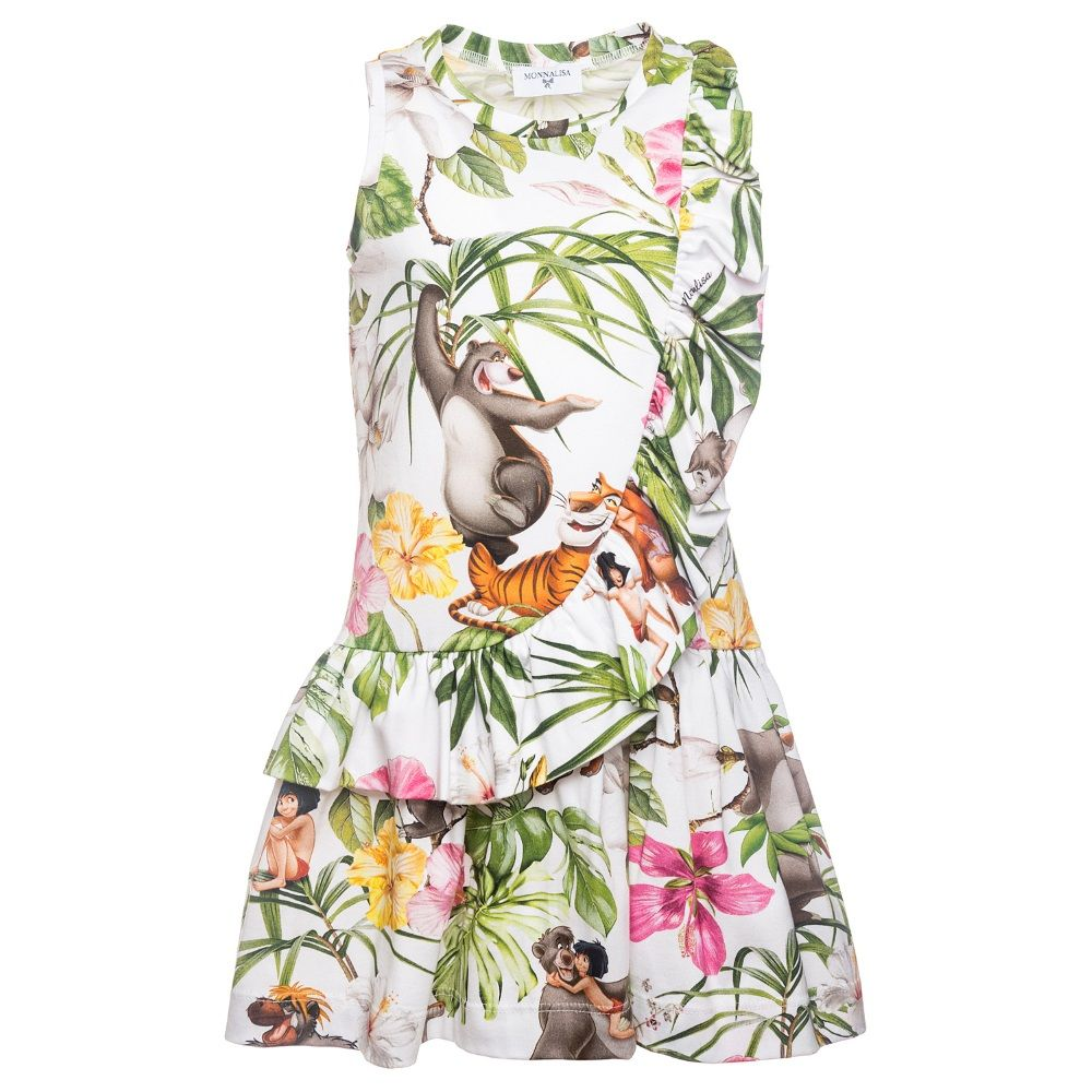 3b82bd562 Monnalisa White & Green Jungle Book Dress 111916 | Monnalisa Spring ...