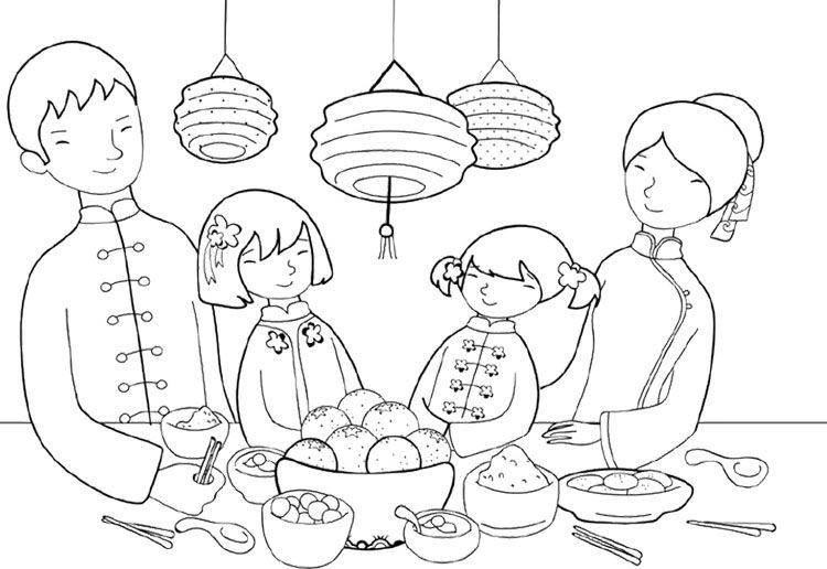 Chinese New Year Dinner Coloring Page New Year Coloring Pages