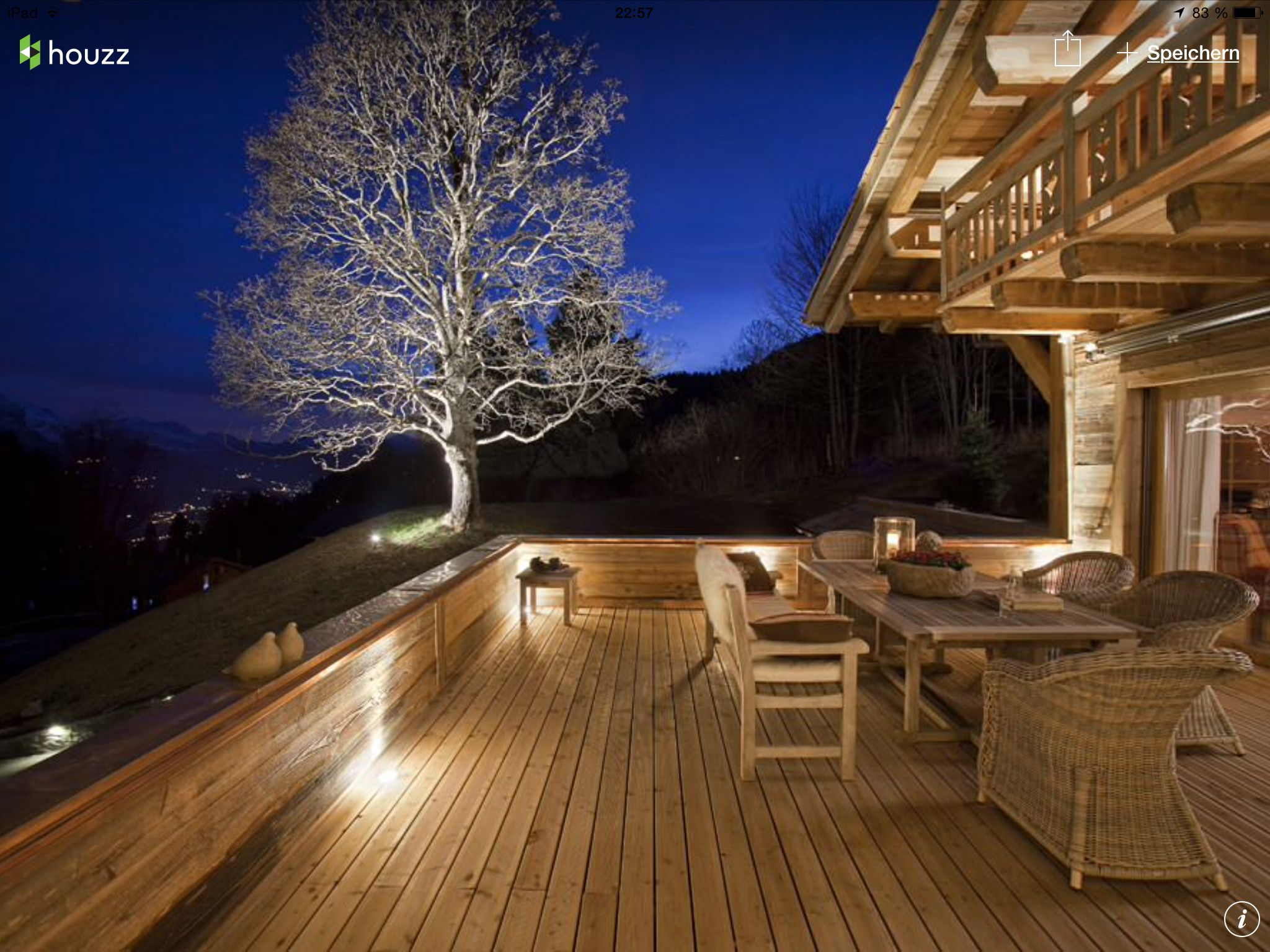 Eclectic Ski Chalet Making The Most Of Indoor/outdoor Living With A Large  Porch Off The Livingroom. Solar Spotlight On The Tree Gives It The Illusion  Of ...