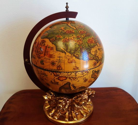 Horchow Italian World Globe Mini Bar Desktop Rotating Lion Base With Gold  Leaf Home Or Office Luxury Entertaining Gift