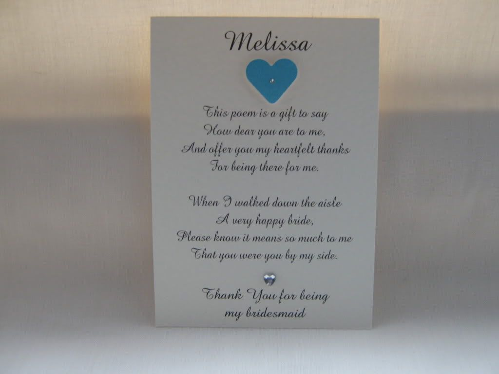 what to write in my bridal shower thank you cards%0A Bridesmaid Thank You Poem   Details about Thank you bridesmaid poem card  personalised  handmade