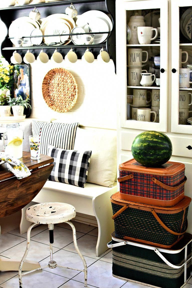 Summer decorating ideas stack of vintage picnic baskets in farmhouse kitchen rae dunn display also rh pinterest