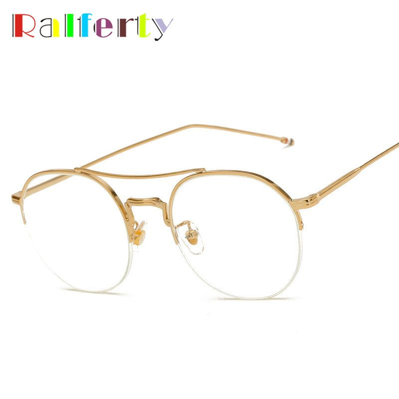 Ralferty Oversized Vintage Women Men Gold Glasses Frame With Clear ...