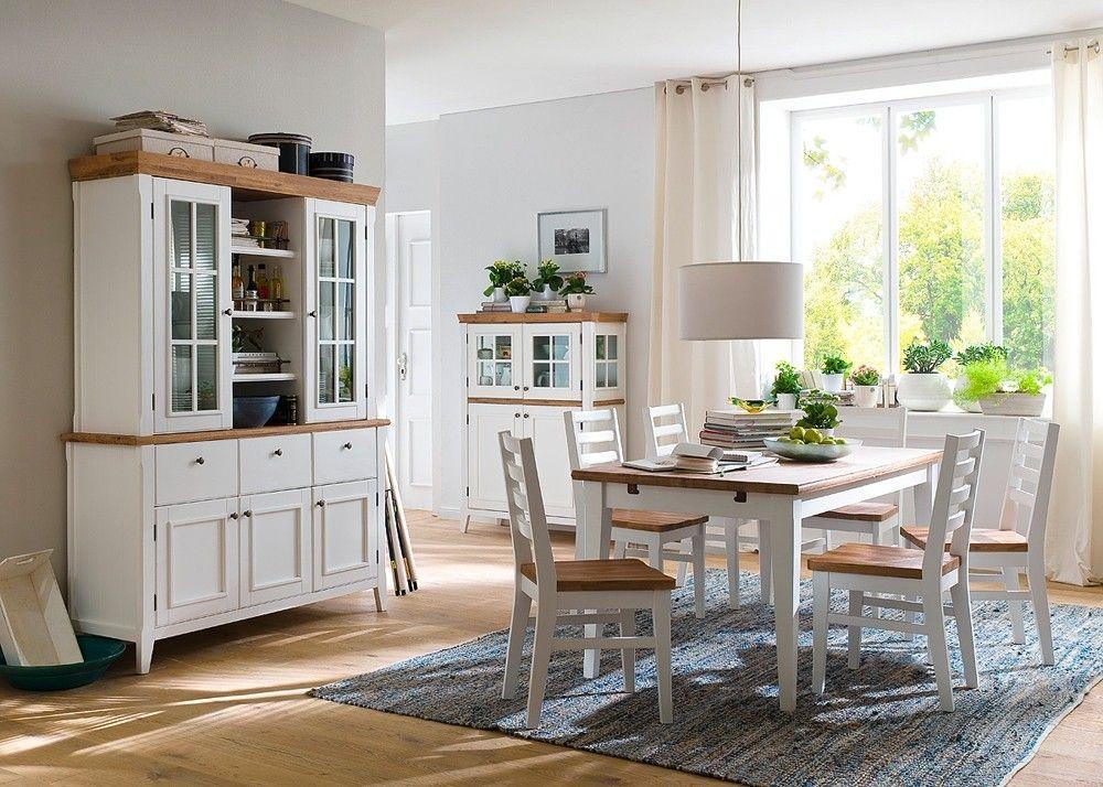 Esszimmermöbel weiß  Esszimmer komplett Malin Esszimmermöbel Landhausmöbel Weiß Natur ...