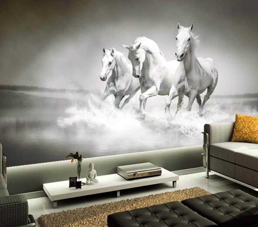 3d Wall Design White Horses Horses Animal Mural