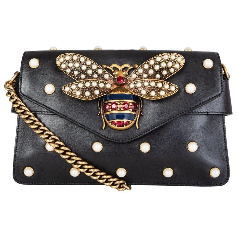 NEW Broadway Pearly Bee handbag Shoulder Bag Mini Purses Leather Chain Strap NWT