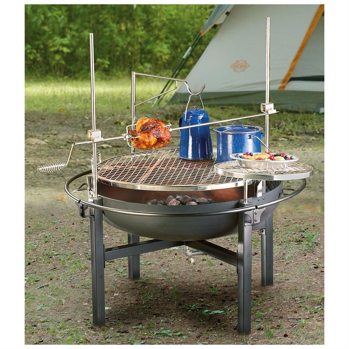 Cowboy Fire Pit Rotisserie/Grill delivers that savory, mmm good BBQ taste. - Cowboy Fire Pit Rotisserie/Grill Delivers That Savory, Mmm Good BBQ