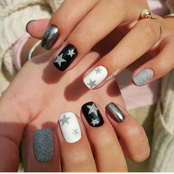 Estrellas Blanco Negro Gris Azucar Manicura Pinterest Manicura