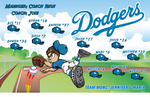Dodgers Vinyl Banner B60415 Digitally Printed Vinyl Softball Baseball And Little League Sports Team Banner Made Sports Team Banners Team Mom Baseball Banner