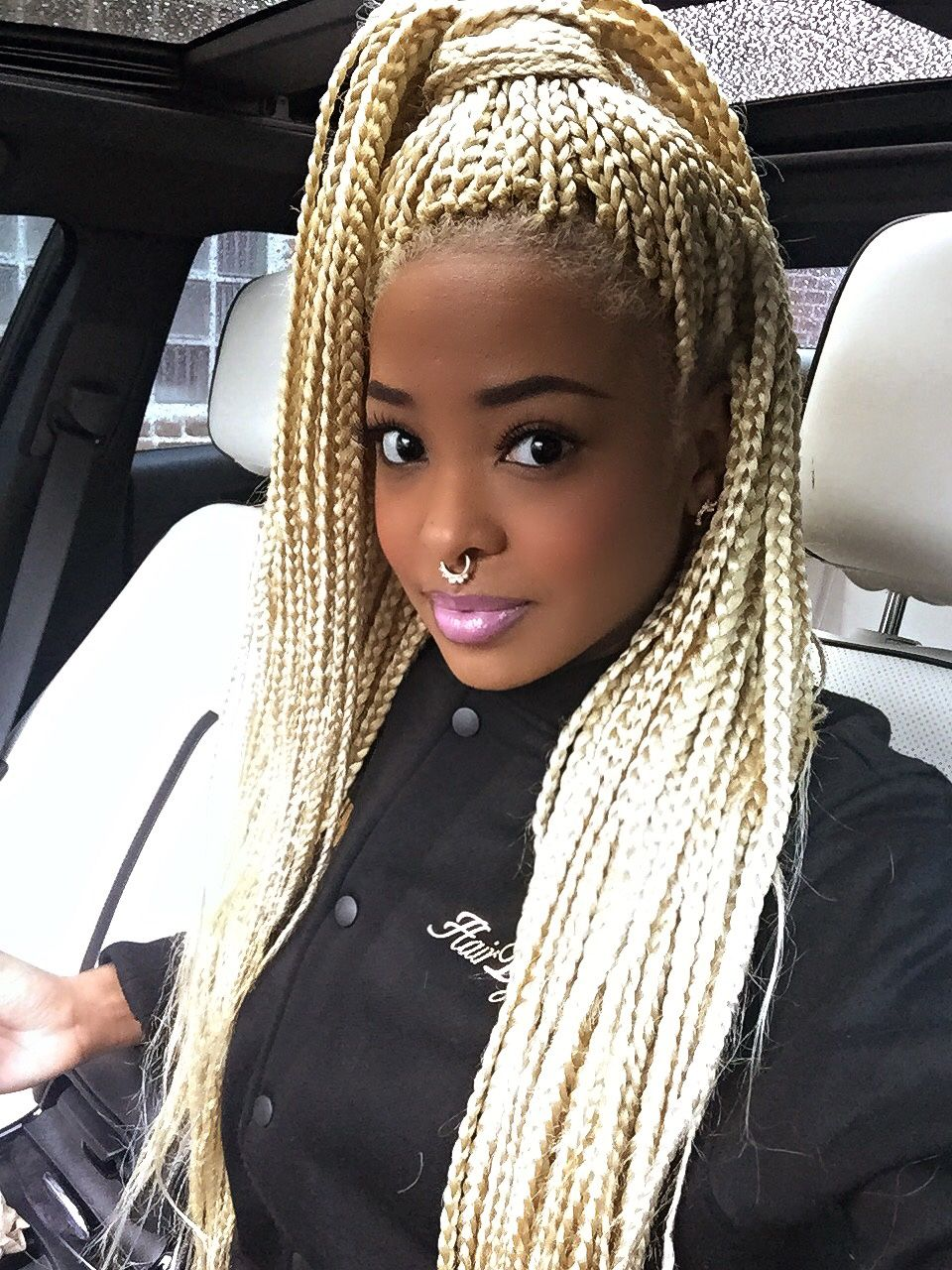 blonde box braids | afro hairstyle | black girl stylin | Beautiful ...