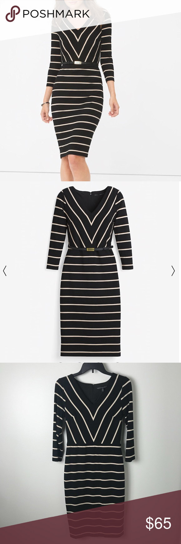 White house black market striped sheath dress pinterest white