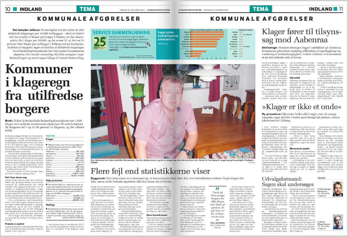 Oktober 2013 JV Undersøger: Klageregn over kommuners sagsbehandling. Esbjerg og Aabenraa beskyldes for at bryde loven.