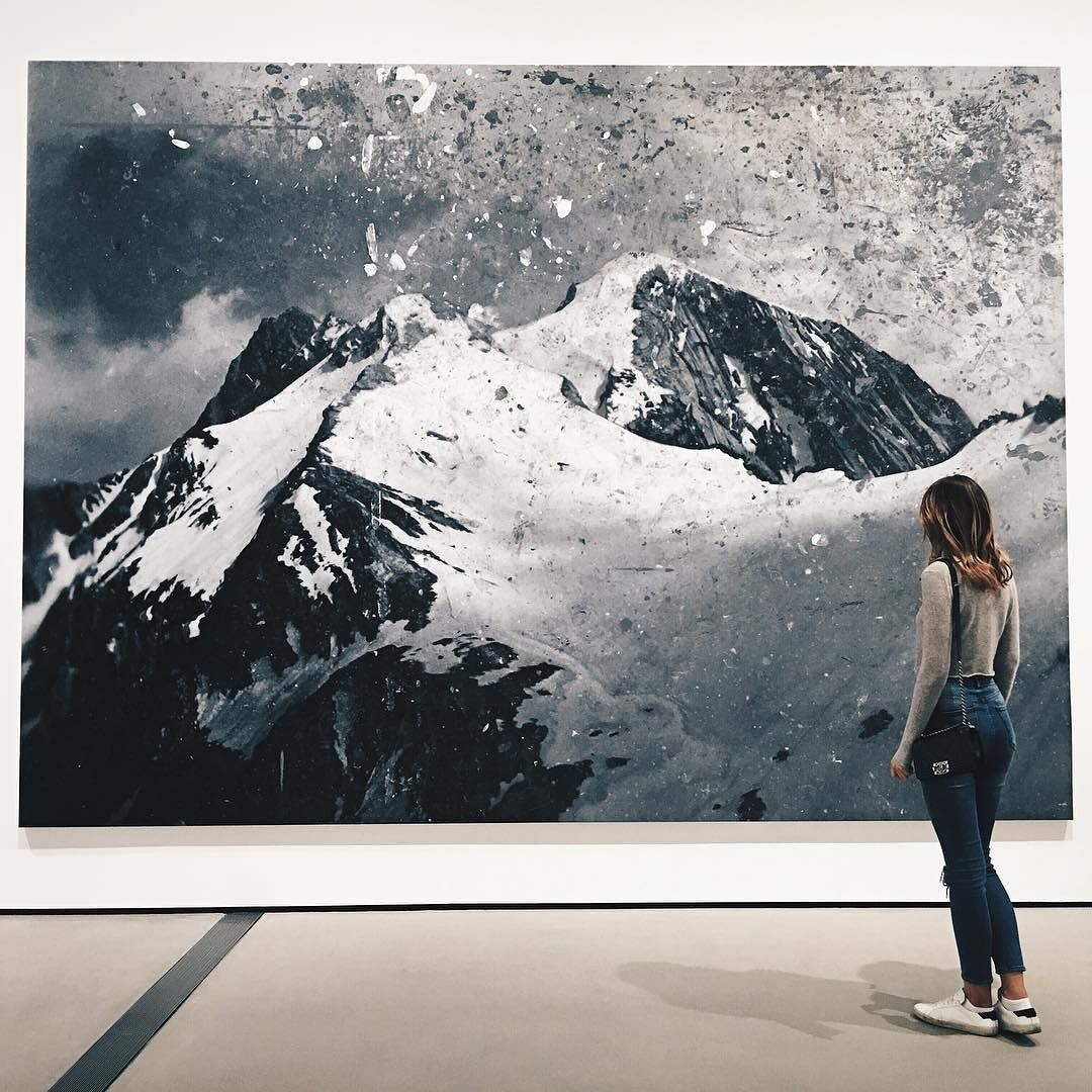 Rudolf Stingel left the piece on his studio floor to be walked over and worn down, to resemble old photographs of the Italian Alps he grew up in