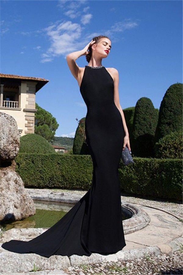 Black Satin Evening Prom Dress