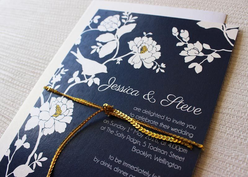 Navy Blue Gold and White Roses and Bird Wedding Invitation