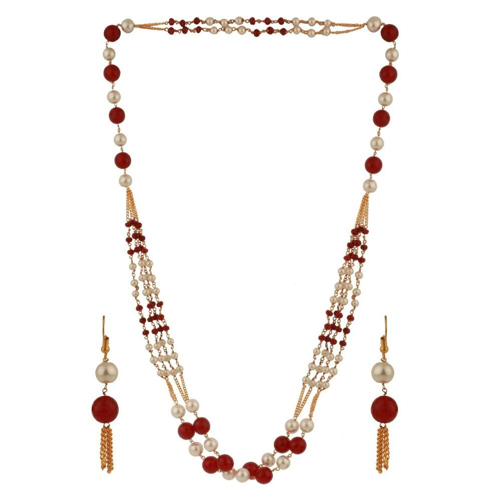 Efulgenz Indian Multi Layered Red Faux Ruby Pearl Beads Wedding Bridal Necklace Earrings Jewelry Set