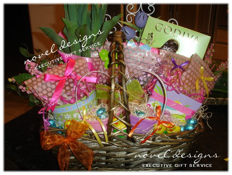 Custom easter gift basket including tulips godiva chocolates custom easter gift basket including tulips godiva chocolates assorted nuts dried fruits wrapped negle Image collections