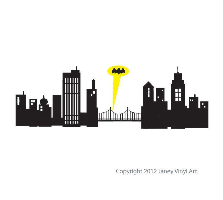 super hero room decal batman gotham city skyline small size