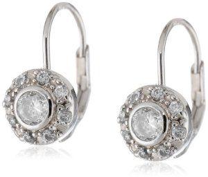 .925 Sterling Silver Cubic-Zirconia Lever Back Earrings