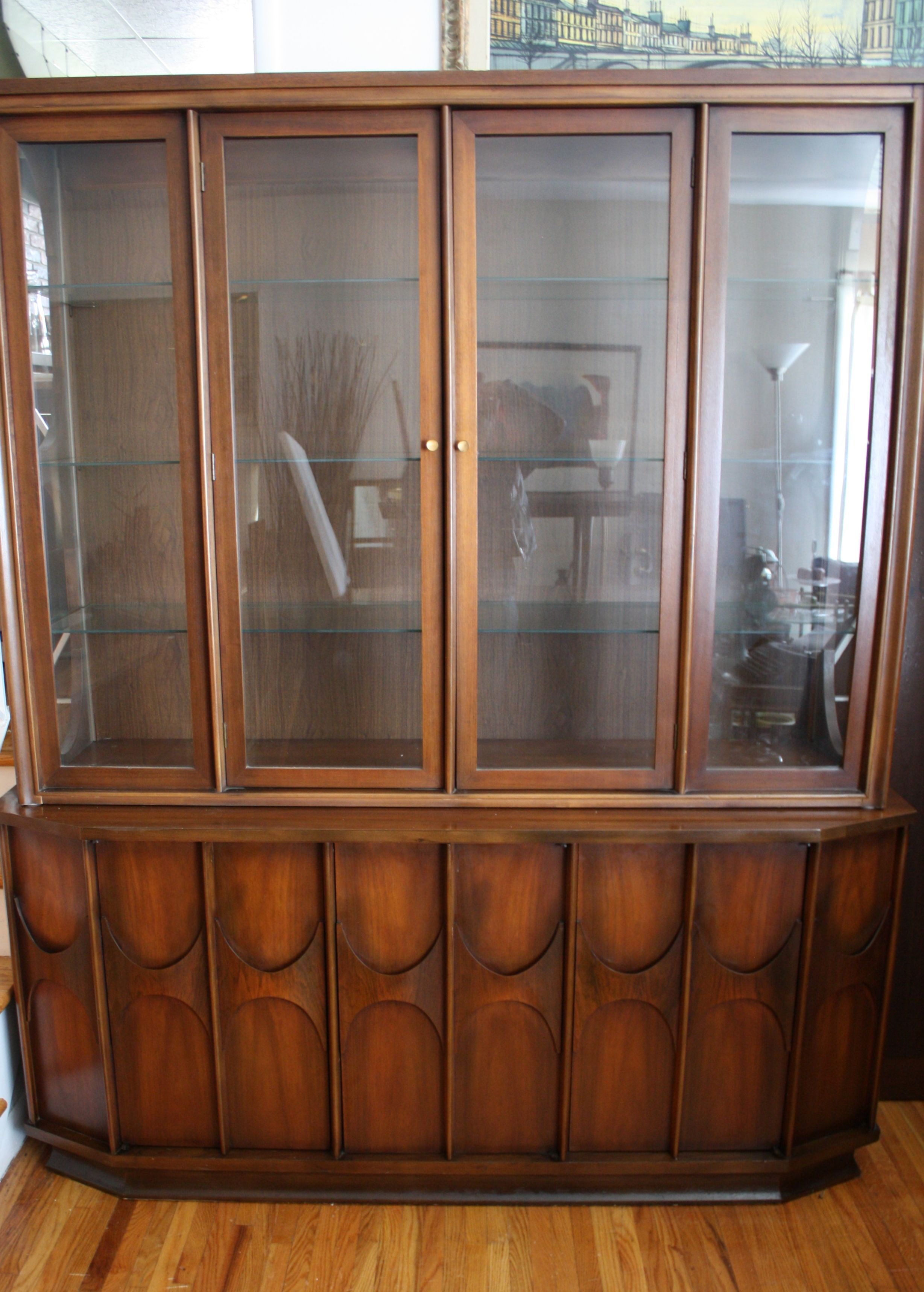 Mid century modern Kent Coffey Perspecta china cabinet with credenza
