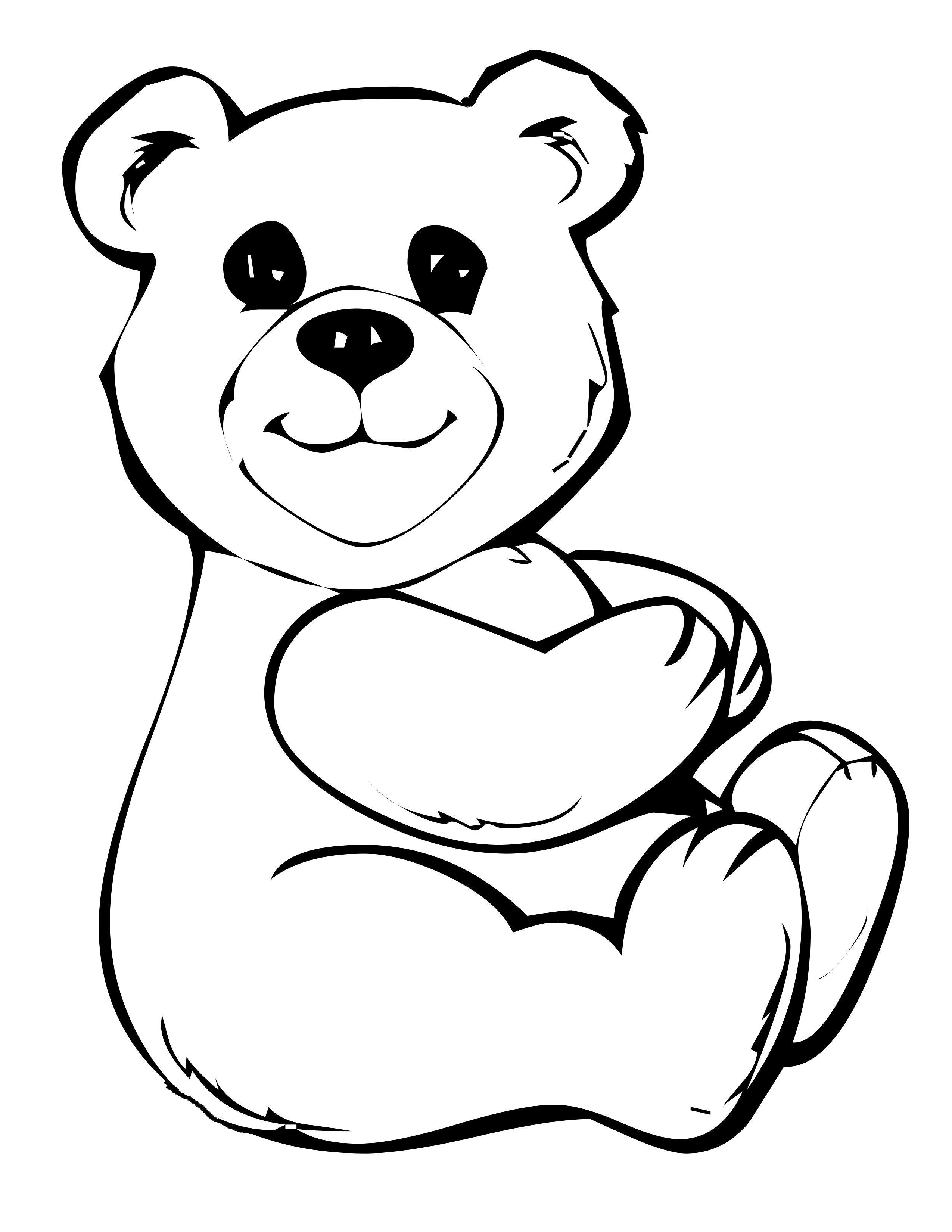 Small Cute Teddy Bear Sitting Relaxed Coloring Pages For Kids Fr5 Printable Teddy Bears Coloring Pages For Kids
