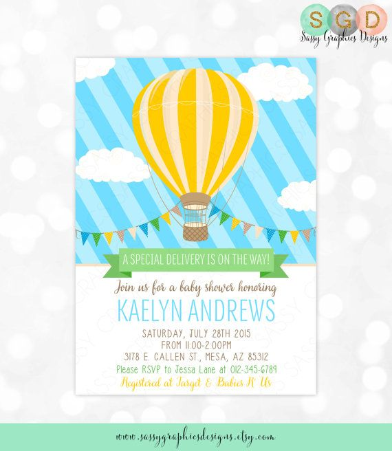 Hot Air Balloon Baby Shower Invitation   Baby Boy Blue Yellow Charming  Whimsical Invitation DIY Printable