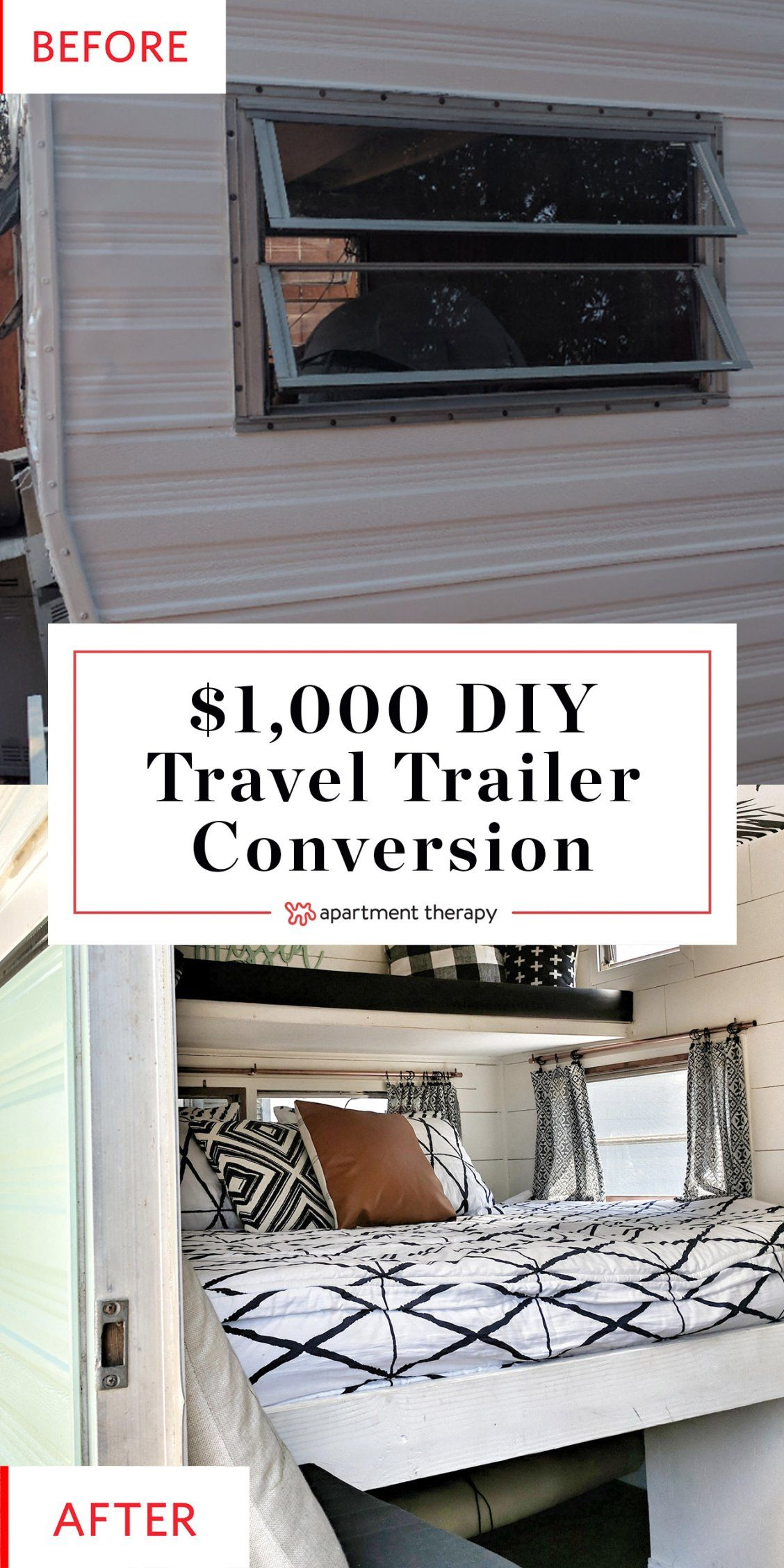 Before And After This Travel Trailer S 1k Redo Will Knock Your Boho Socks Off Vintage Camper Remodel Diy Camper Remodel Diy Travel Trailer