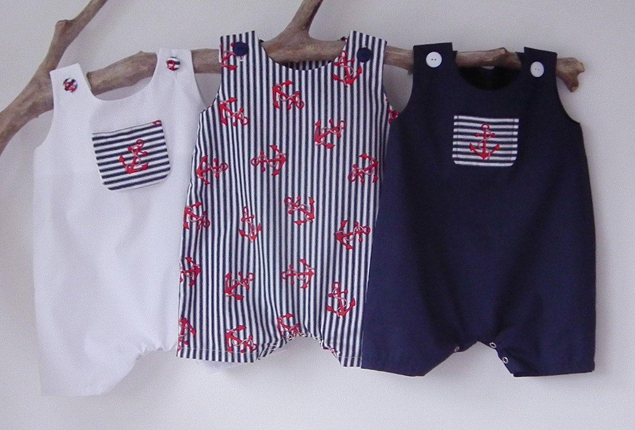 Newborn Baby Boy Clothes Nautical Newborn Rompers Summer Anchor
