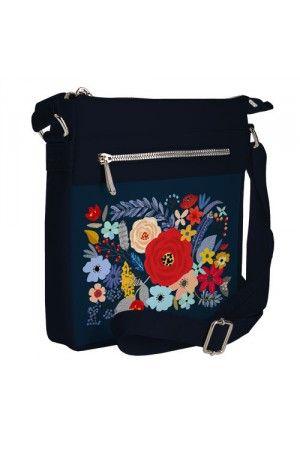 Сумка «Польові квіти» темно-синього кольору (Pocket)