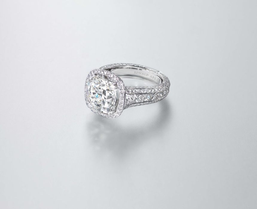 5.21 carat Cushion Cut Diamond Ring by Ronald Abram