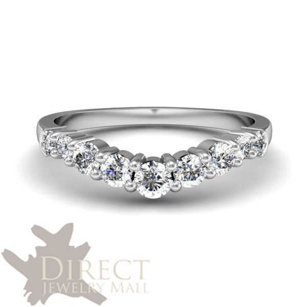 9ct Real White Gold 0 49ct Look Created Round Diamond Wishbone Wedding Band Ring
