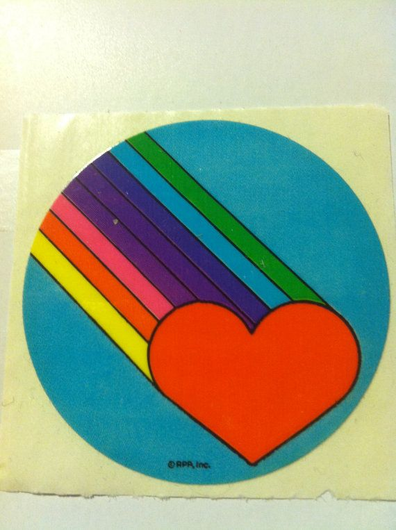 Heart And Rainbow Sticker Vintage 1980 S Etsy Rainbow Stickers Sticker Collection Sticker Book