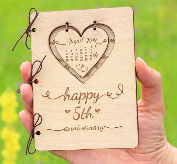 Personalised 5th Anniversary Cardanniversary Giftcouples Etsy Wood Anniversary Gift 4th Year Anniversary Gifts Five Year Anniversary Gift