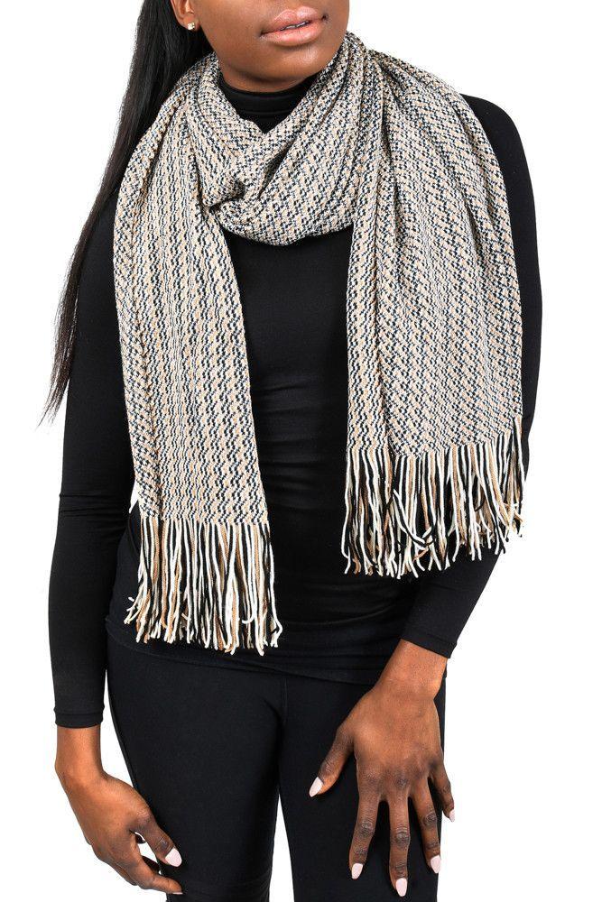 00c988d7b Missoni SC79WMD4689 Black/Beige Zigzag Knit Wool Blend Ladies Scarf/Shawl