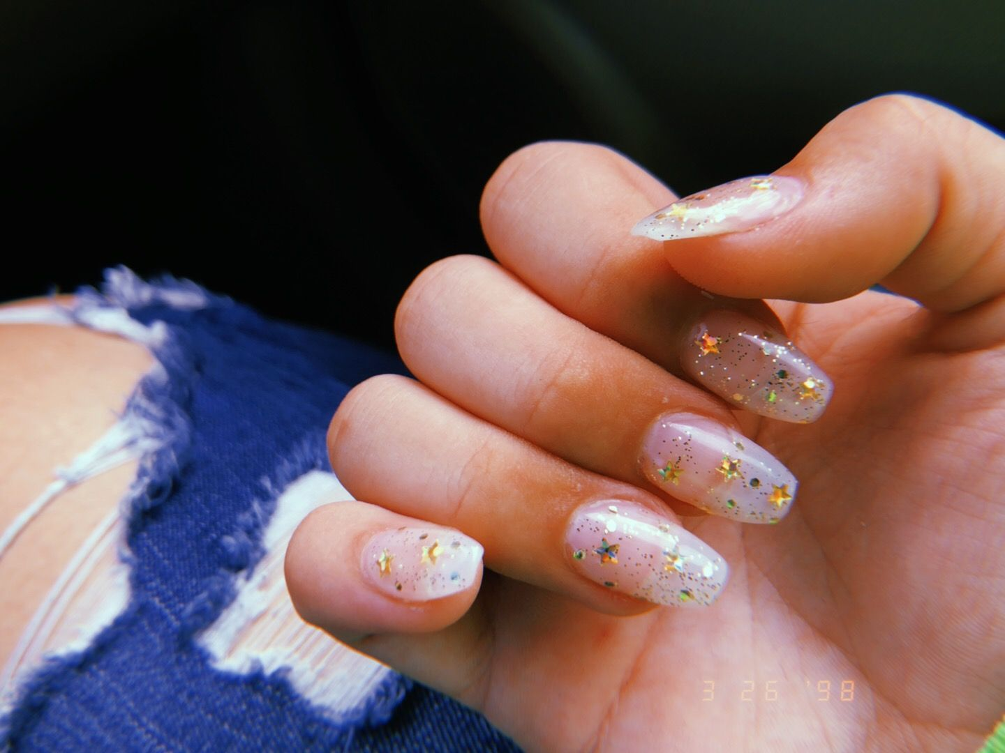 Clear Gold Star Acrylic Coffin Shaped Acrylics Square Acrylic Nails Clear Acrylic Nails Gold Nails