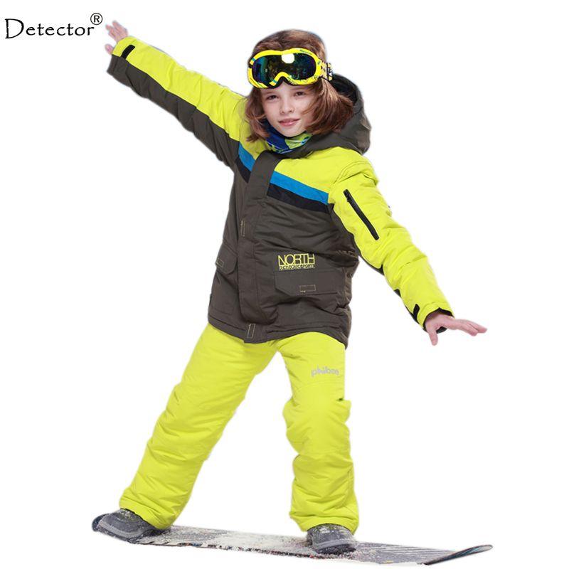 e401d44e4e07 kids boys winter clothing set skiing jacket+pant snow suit -20-30 ...