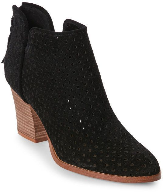 Marc Fisher Black Canopy Perforated Ankle Booties