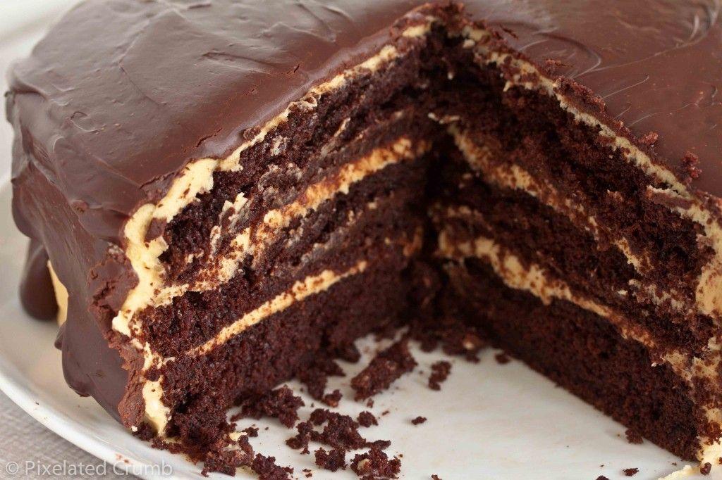The Ultimate Chocolate Peanut Butter Cake Recipe Chocolate Cake Recipe Sour Cream Chocolate Cake Chocolate Peanut Butter Cake