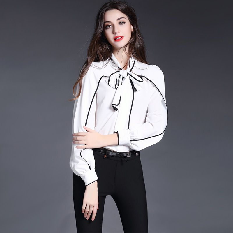 New Autumn Women Silk Blouse Fashion Elegant Clothing Bow Collar Neck Shirt  Sexy Ruffles Sleeve Natural Silk Blouses White Tops