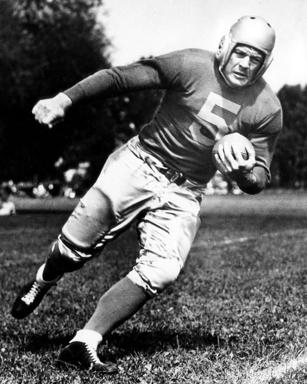 Detroit Lions end Ace Gutowsky circa 1934. He helped the Lions 1934 defense give up an astonishingly low total of only 59 points over the entire 13-game slate. Gutowsky would also finish his career in 1938 as the Lions all-time leading rusher with 2,445 yards, on 698 carries.