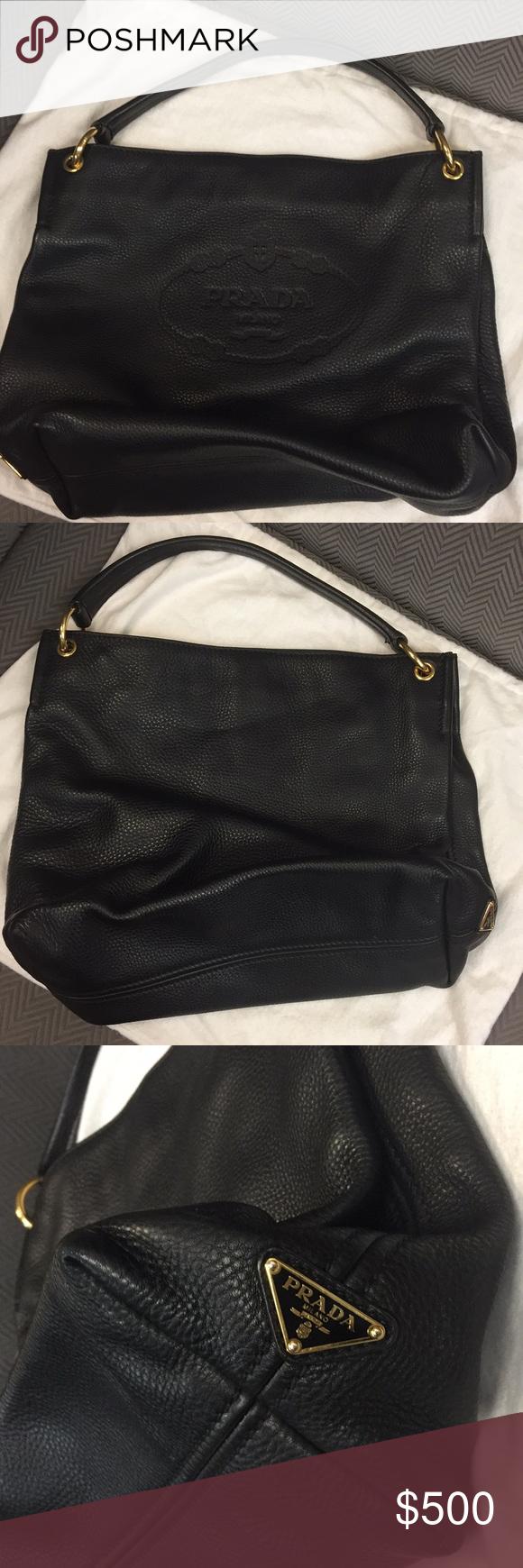 26df8fab7cc2 Prada Vitello Daino single strap hobo bag Pebbles black leather one  shoulder handbag. Normal wear