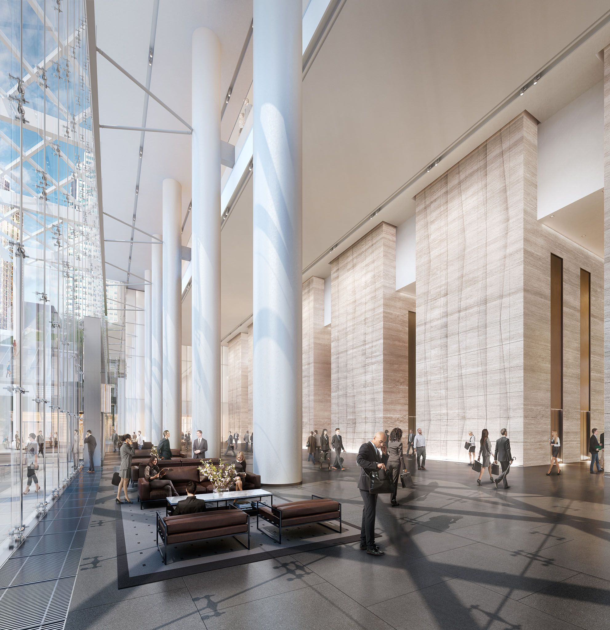 81 Bay Streets soaring lobby opens to an advanced elevator system