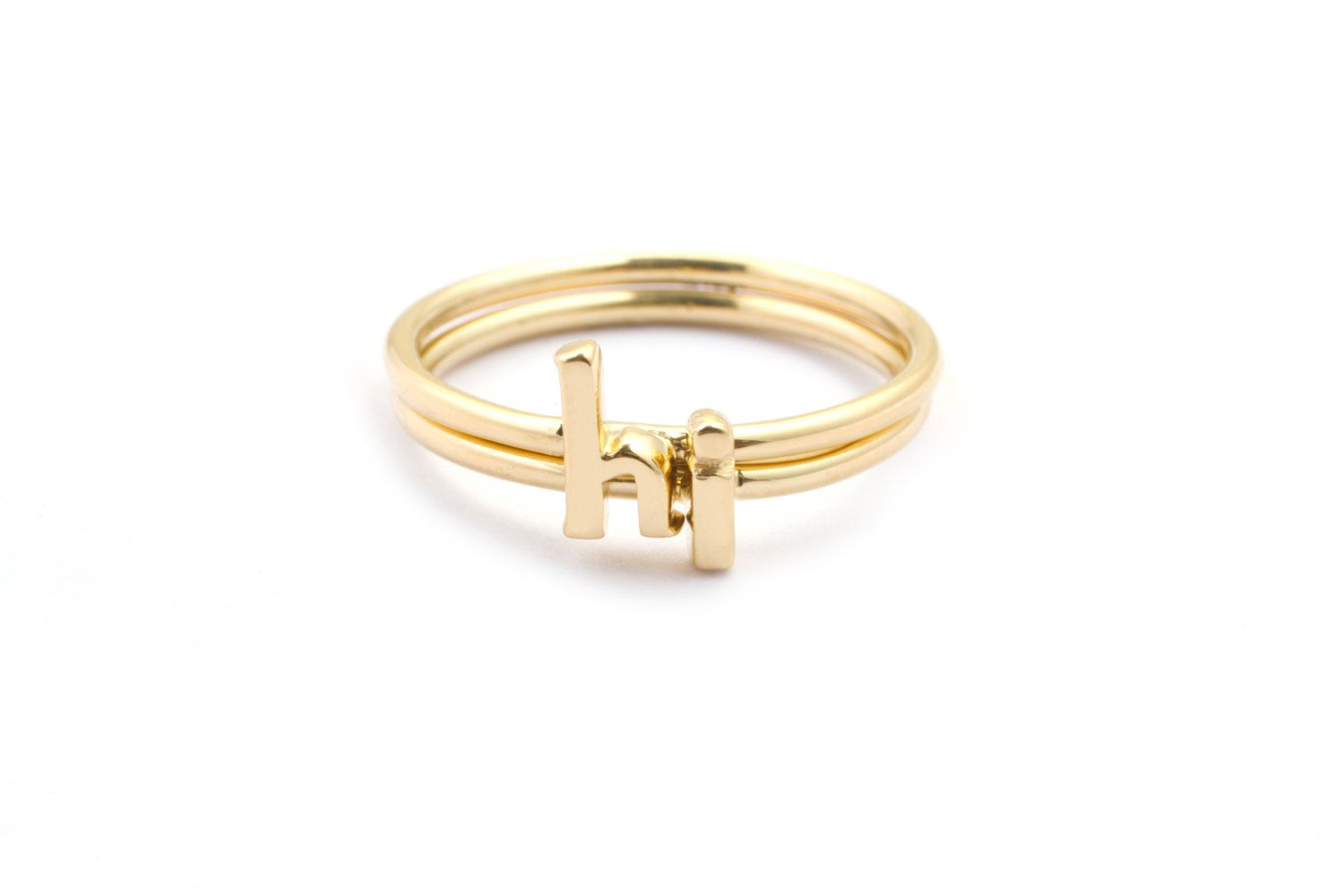 Alphabet Rings, Stackable Initial Rings, 14k Gold Plated | Pretty ...