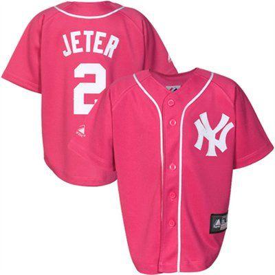 separation shoes 6d716 e9e6b Derek Jeter New York Yankees Toddler Pink Jersey   Team ...