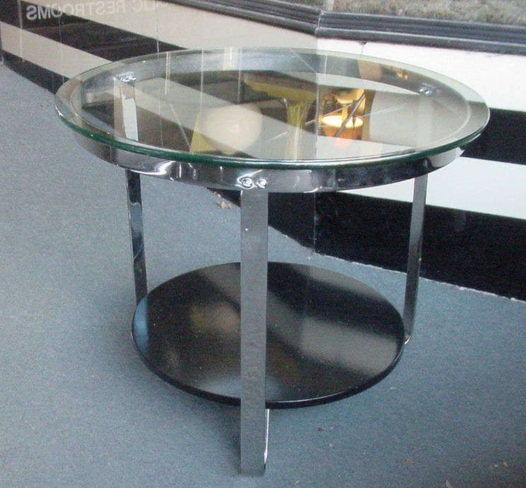 Art Deco Table. Measures 18-1/2 in. high x 24 in. diameter (glass top).  Price: $695 plus s/h.  Excellent condition.