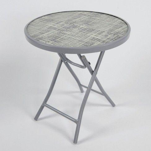 Folding Patio Accent Table Black White Linen Threshold Round