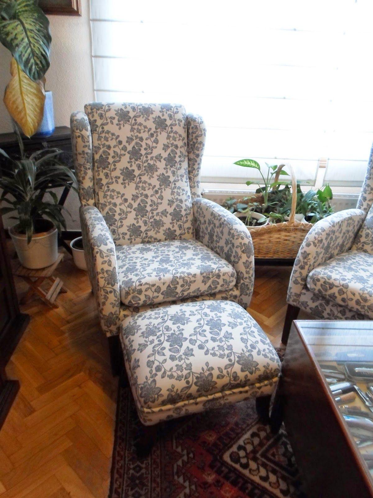 Butaca Orejera Y Puff Reposapi S Tapizados En Una Elegante Tela De  # Muebles Tapizados En Tela