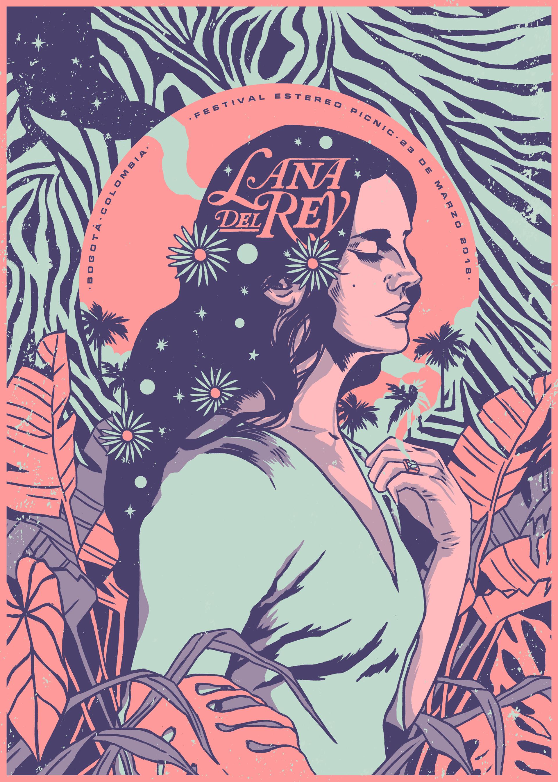 Lana Del Rey Gig Poster On Behance Illustration Art Poster Art Art