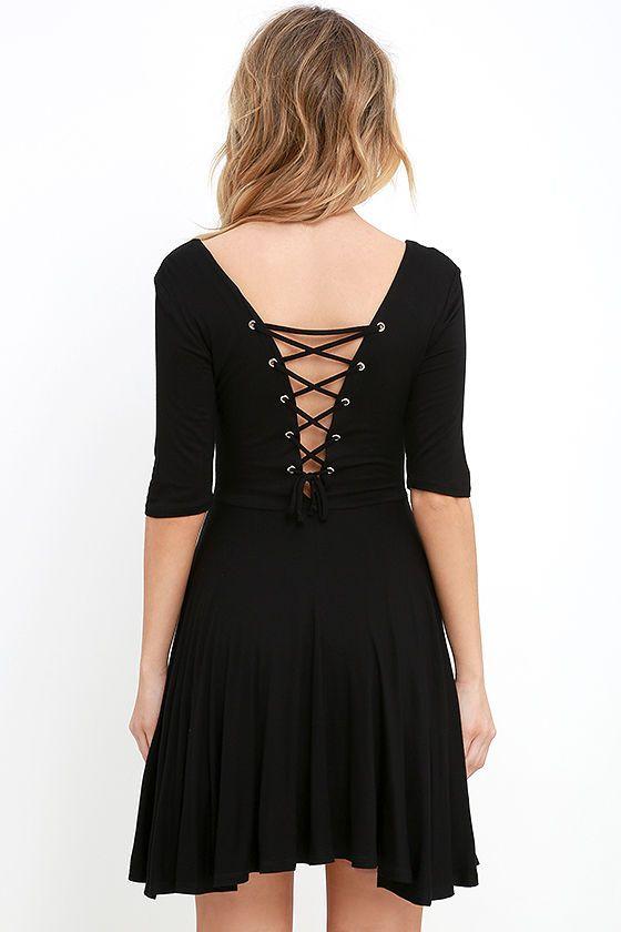 Tethered Together Black Lace-Up Skater Dress at Lulus.com!