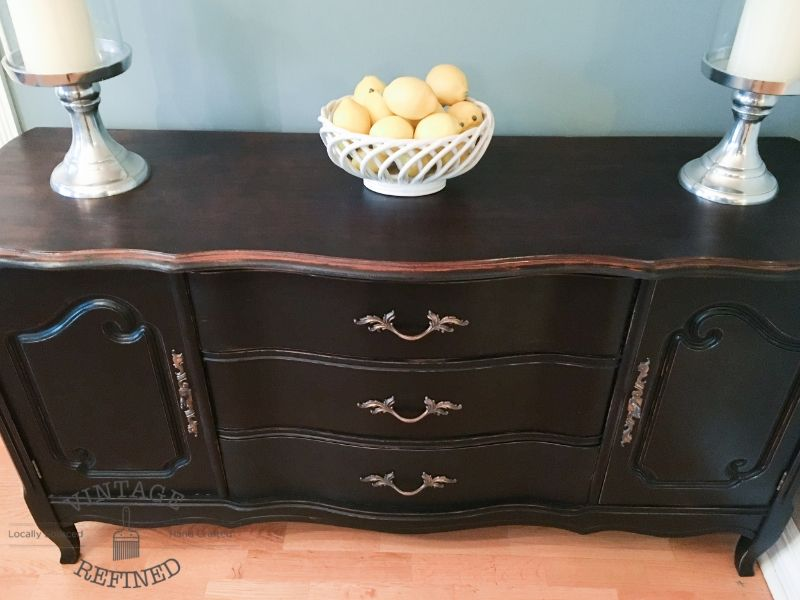 Black French Provincial Buffet Leather Living Room